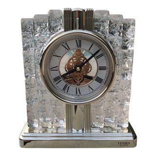 Vintage Modern Ice Crystal Citizen Mantle Clock For Sale