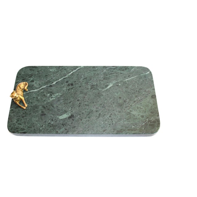 Vintage Green Marble Tray With Gold Leopard Serving Knives, 1970's For Sale