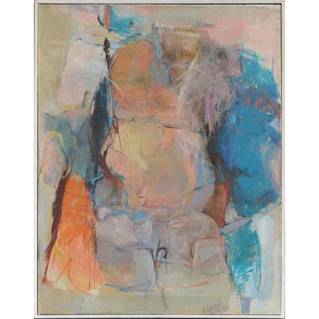 Wonderful mid-century abstract figurative by New York City artist David Chapin (American, b. 1919) signed and dated lower...