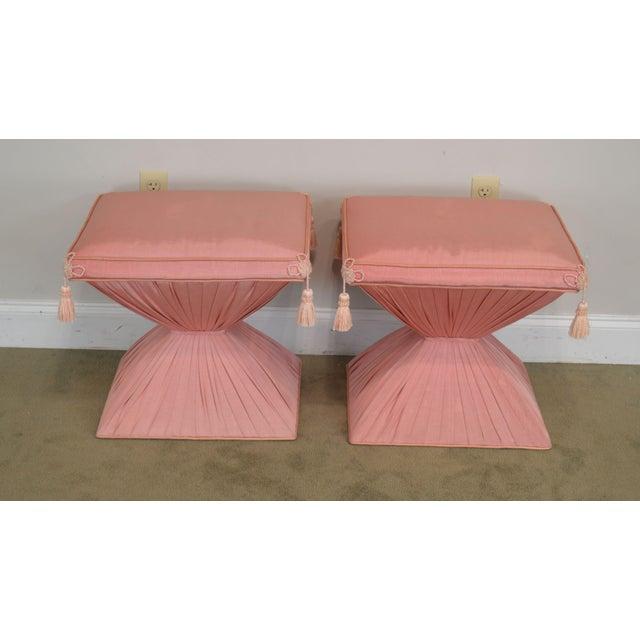 Hollywood Regency Hollywood Regency Pair Vintage Pink Upholstered Stools For Sale - Image 3 of 12