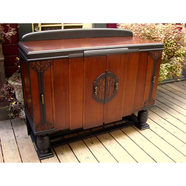 Early 20th-C. Oak & Black-Painted Liquor Cabinet - Image 2 of 11