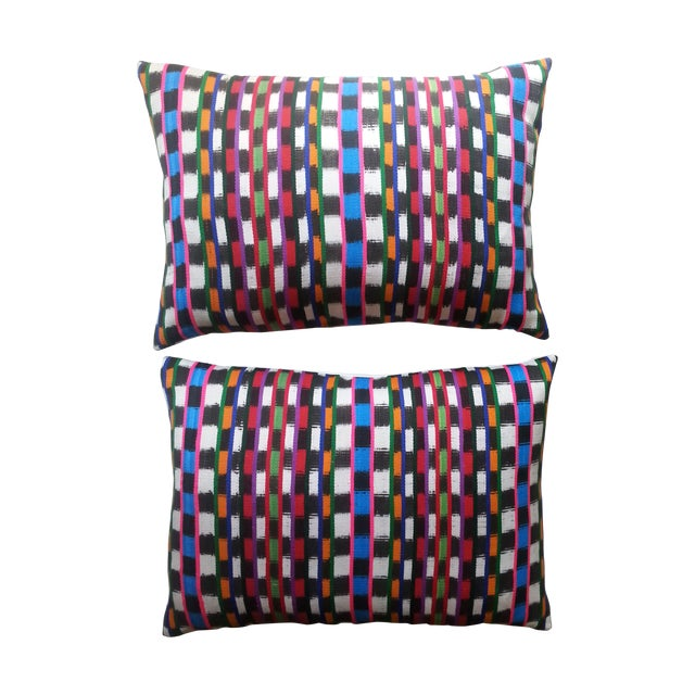 Guatemalan Multi-Plaid Pillows - A Pair - Image 1 of 4