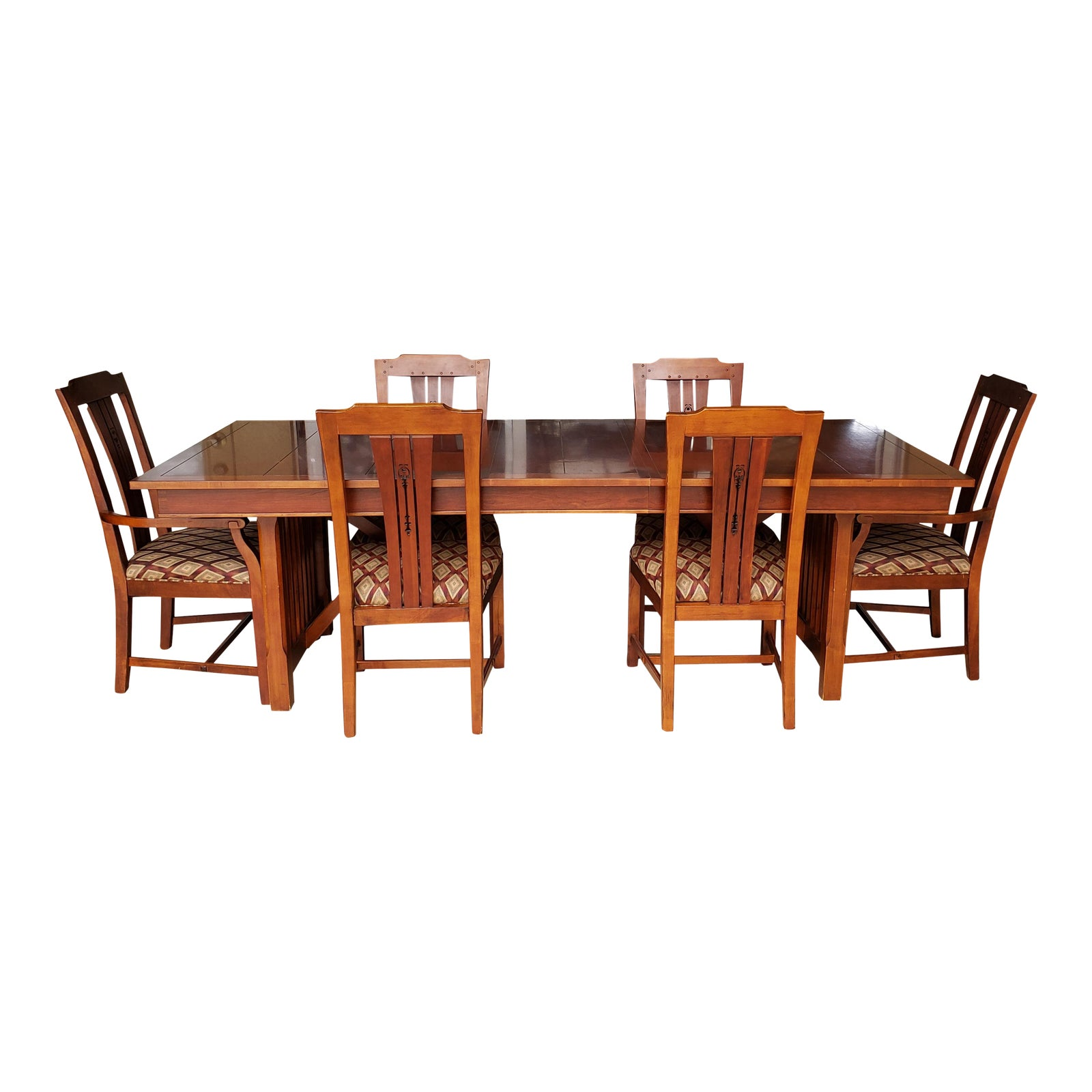 Drexel Heritage Solid Cherry Table W 2 Leaves Arm Chairs 4 Side Great Condition