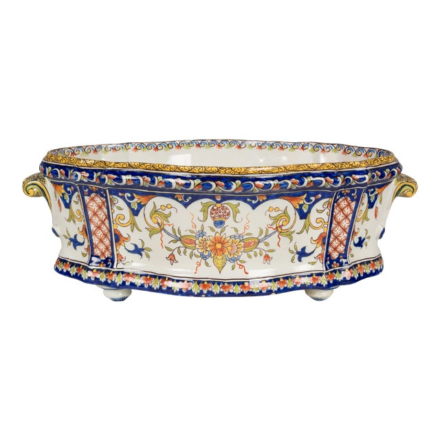 19th Century French Desvres Jardiniere For Sale