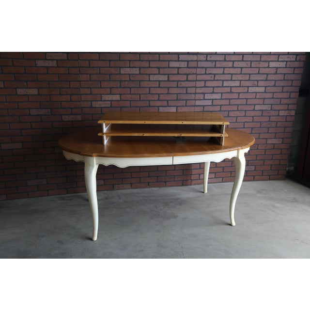 French Country Ethan Allen Oval Extension Dining Table For Sale - Image 6 of 8