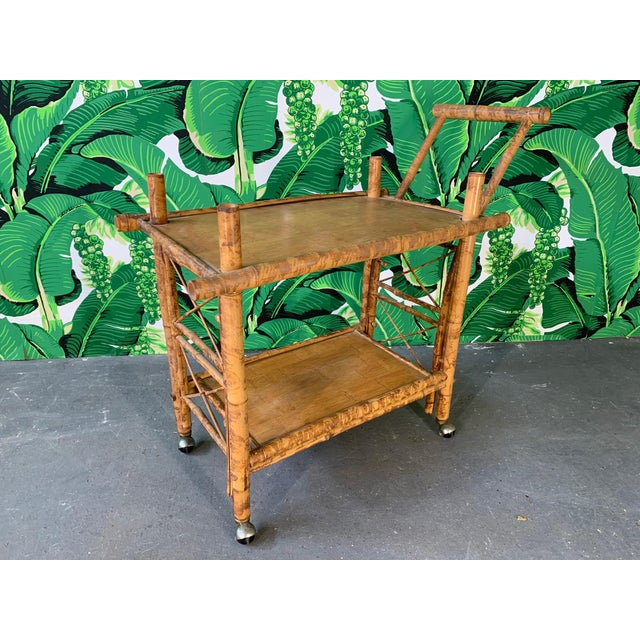 Collapsible Tiger Bamboo Bar Cart For Sale - Image 11 of 11