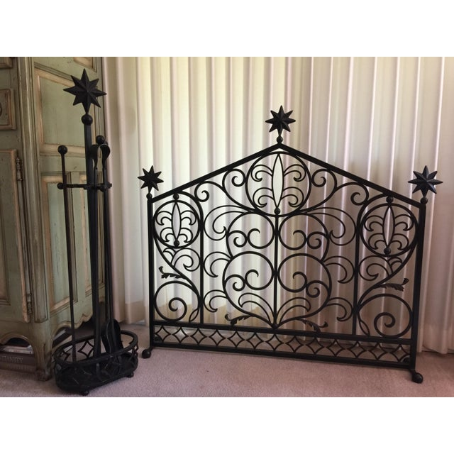 Iron Fireplace Screen & Utensil Set For Sale - Image 12 of 12