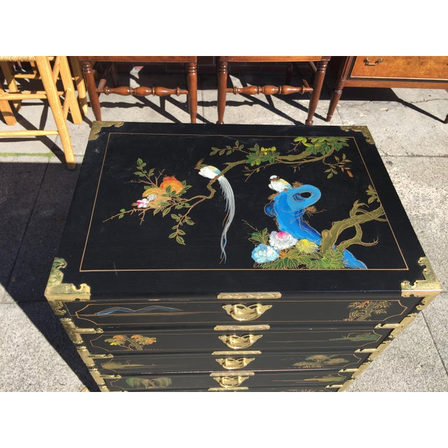 Hand painted Chinese chest with brass accents. Used for jewelry storage with lined drawers. In excellent condition this...