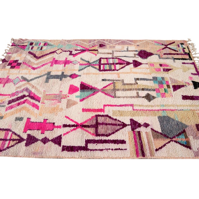 Vintage Azilal Moroccan Wool Rug For Sale - Image 9 of 12