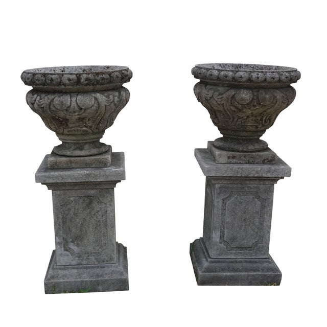 Mid 19th Century Mid-19th Century Italian Renaissance Style Limestone Urns - a Pair For Sale - Image 5 of 5