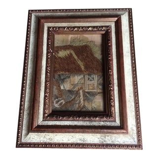 Framed 18th Century Stumpwork Fragment For Sale