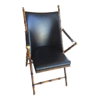 Mid Century Modern Folding Campaign Sling Chair For Sale