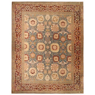 Antique Amritsar Burgundy Blue Wool Rug with Gold Accents For Sale