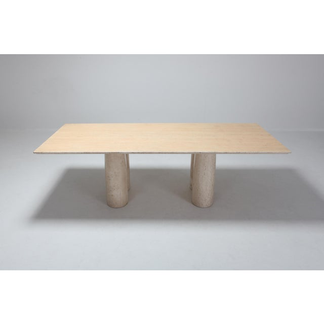 Mario Bellini Travertine Dining Table by Mario Bellini 'Il Colonnato' For Sale - Image 4 of 11