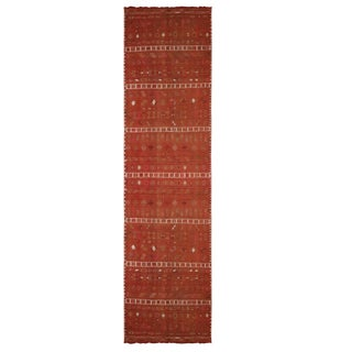 "1940's Vintage Sivas Vermillion Brown Wool Kilim Runner-2'6'x11'3"" For Sale"