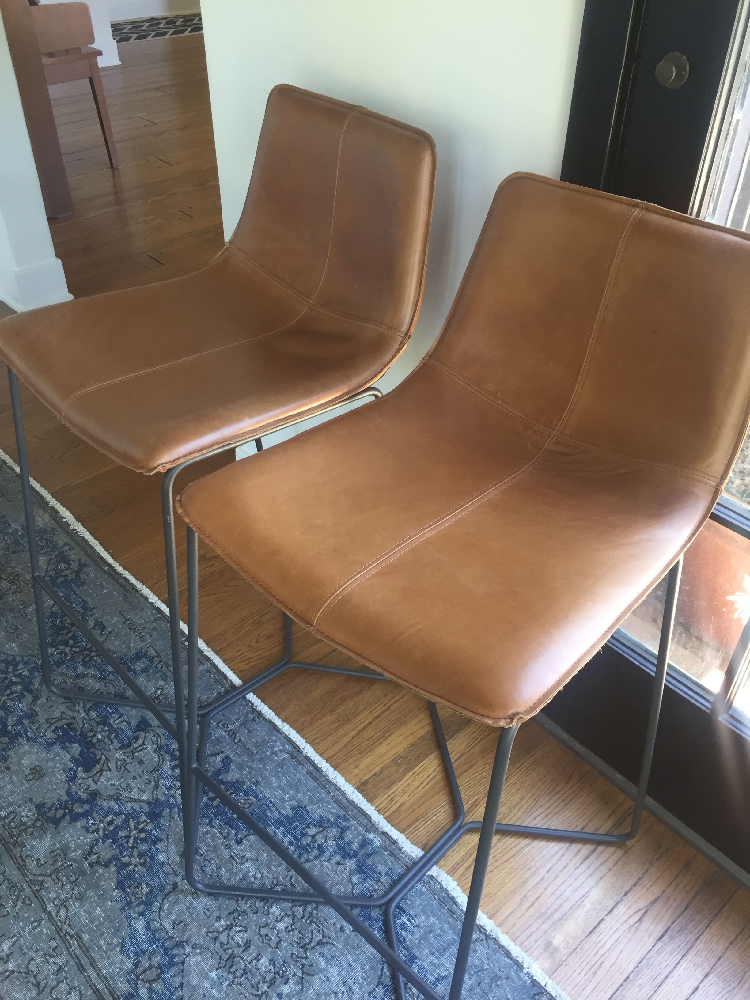 Leather Slope Counter Stools A Pair Chairish