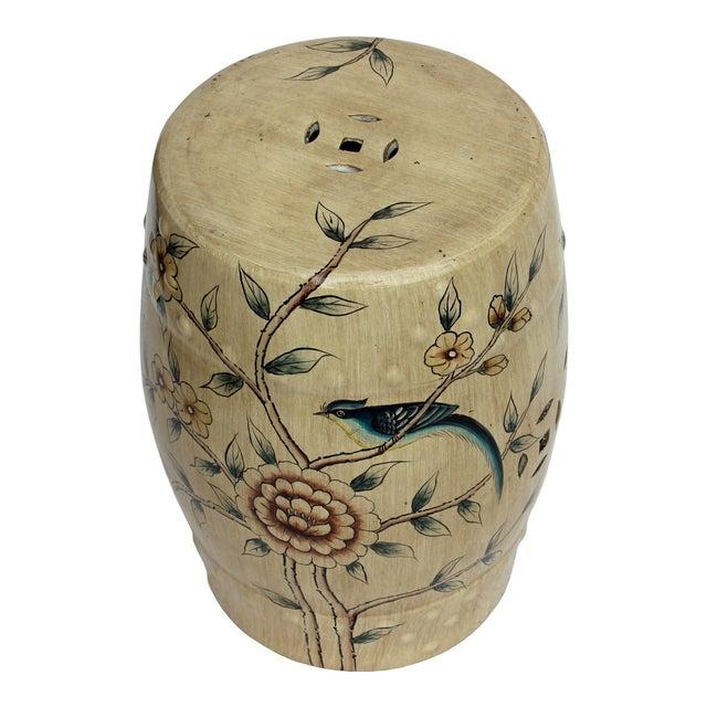 Handmade Beige Porcelain Bird Flower Round Stool Ottoman - Image 5 of 7