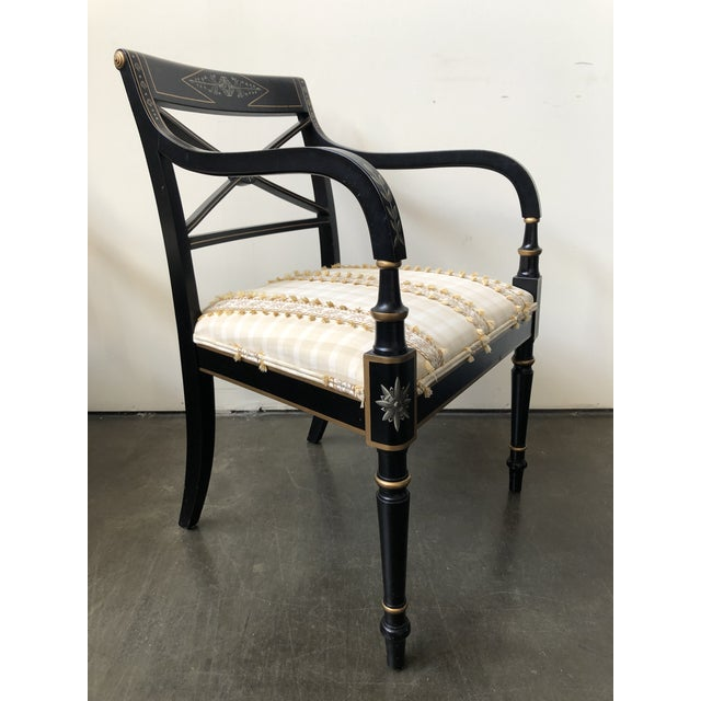 Traditional Regency Style Black and Gold Painted Arm Chairs - a Pair For Sale - Image 3 of 13