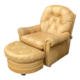 Leathercraft Reclining Lounge Chair & Ottoman For Sale