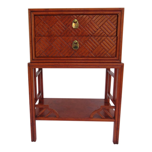 C.1970s Vintage Chinoiserie Orange Lacquered Nightstand, Side/End Reading Table by Thomasville For Sale