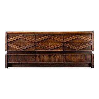 1970s Pulaski Furniture Dark Oak Dresser For Sale