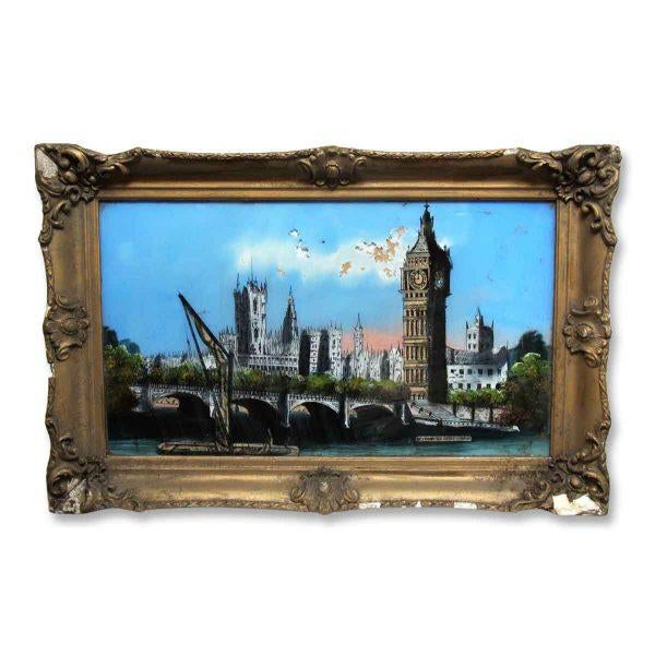 This print has a lovely ornate frame with minor chips and frame. The print displays Westminster Bridge.
