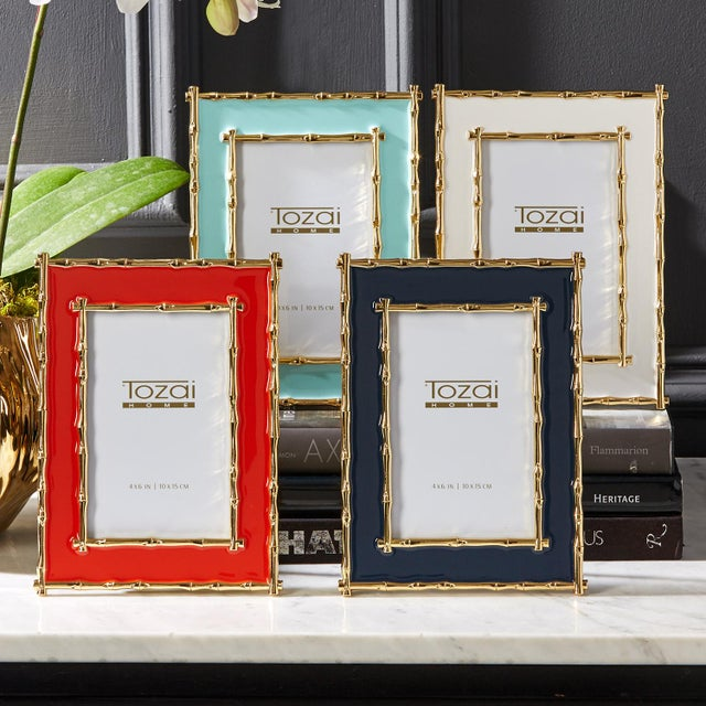 Tozai Home Bamboo White Enamel Picture Frame For Sale In Chicago - Image 6 of 7