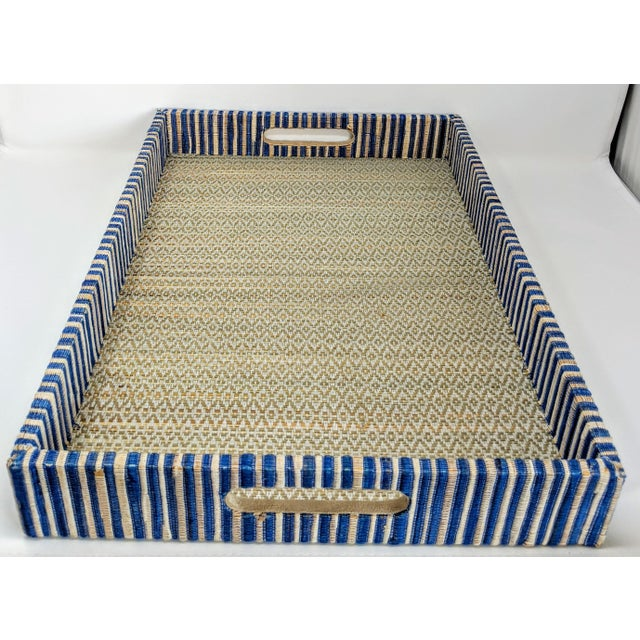 Wood Organic Rectangular Woven Tray With Cotton and Rattan For Sale - Image 7 of 10