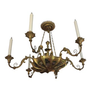 19th Century Continental Painted and Giltwood Six-Light Chandelier For Sale