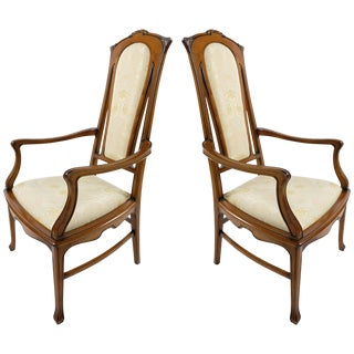 Medea Hand-Carved Art Nouveau Style Armchairs, Pair For Sale