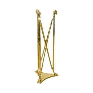 LaBarge Regency Style Brass Rams Head Hoof Foot Pedestal