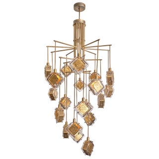 Murano Glass Gold and Bronze Chandelier For Sale