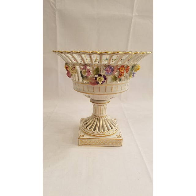 White Dresden Porcelain Compote With Applied Flowers and Pierced Bowl 7.75 Inches Tall For Sale - Image 8 of 8