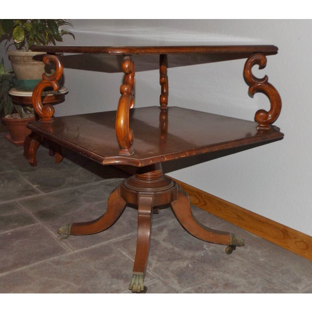 Large Mid-Century End Table With Decorative Inlay - Image 2 of 8