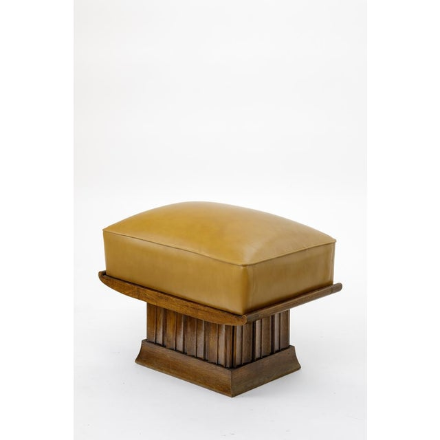 Alfred Porteneuve Superb Stool With an Oak Carved Base and Leather Cover For Sale - Image 4 of 7