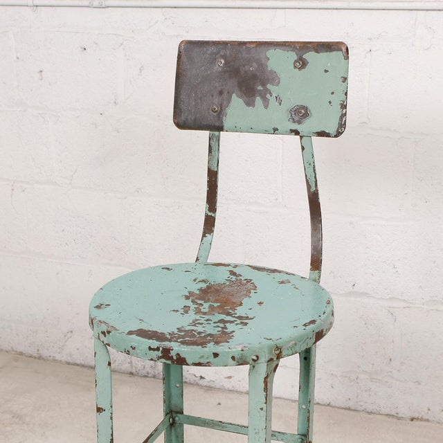 Vintage Industrial Rustic Green Bar Stool - Image 3 of 7