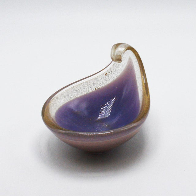 Lavender Murano Glass Tear Drop Bowl With Gold Flecks, C. 1970 For Sale In Dallas - Image 6 of 6