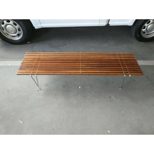 Mid-Century Modern Mid Century Modern Hugh Acton Slatted Wood Bench For Sale - Image 3 of 9