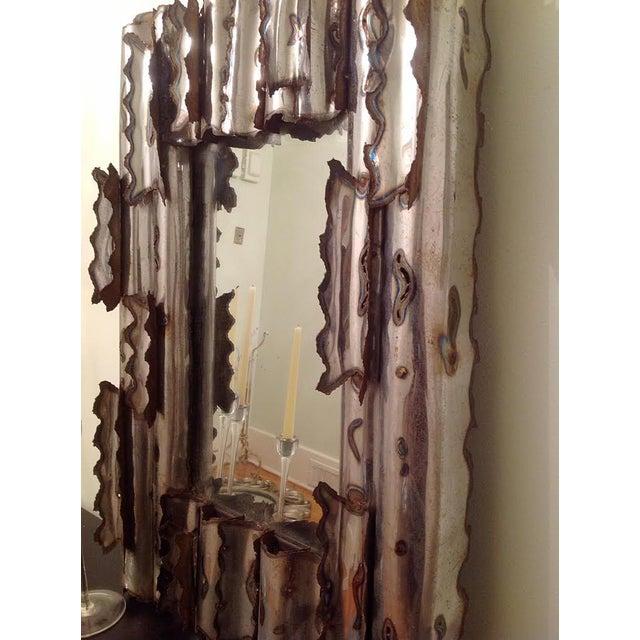 Tom Greene Vintage Brutalist Metal Wall Mirror - Image 6 of 9