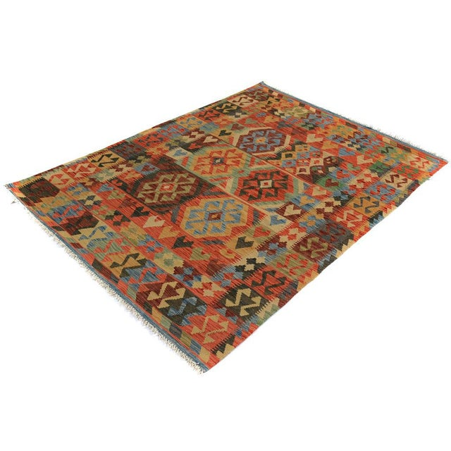 Textile Arya Carmen Blue/Gold Wool Kilim Rug - 4'11 X 6'8 For Sale - Image 7 of 7