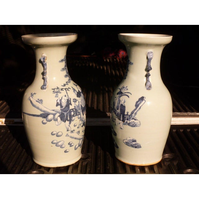 Ceramic 19th Century Qing Chinese Blue & White on Celadon Ground Vases - a Pair For Sale - Image 7 of 13