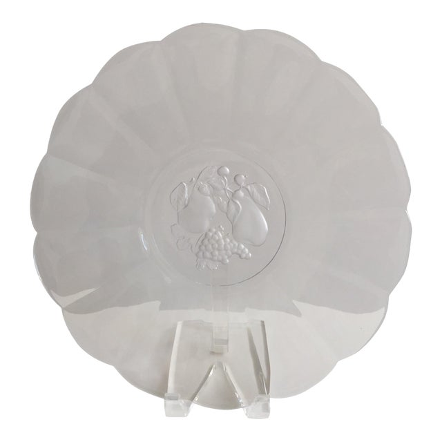 1980s Traditional Val St. Lambert Crystal Torte Plate With Fruit Intaglio For Sale