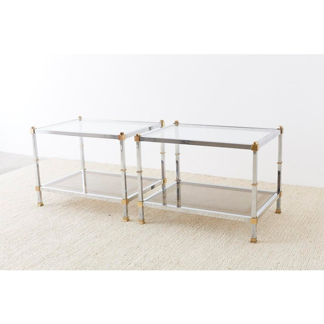 Gold Pair of Maison Jansen Style Chrome and Brass Tables For Sale - Image 8 of 13