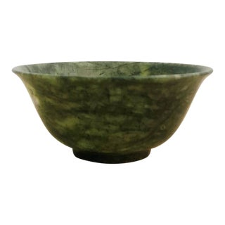 Small Vintage Chinese Spinach Jade Bowl For Sale