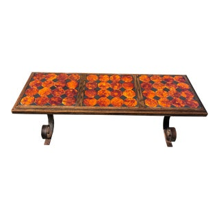Mexican Tile Coffee Table With Ornate Wrought Iron Base. For Sale