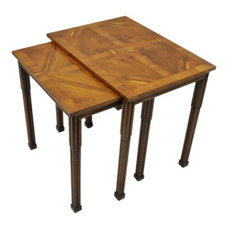 Old Colony Traditional Yew Wood & Burl Walnut Banded Nesting Side End Tables