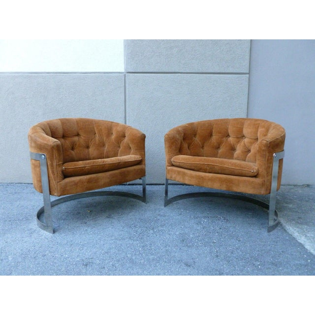 Chrome 1970s Mid-Century Modern Milo Baughman Semi Circular Tub Lounge Chairs - a Pair For Sale - Image 7 of 8