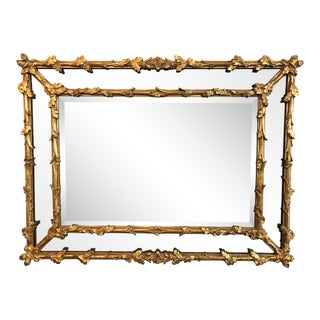 Antique Carved Italian Oak Leaf Branch Giltwood Mirror For Sale