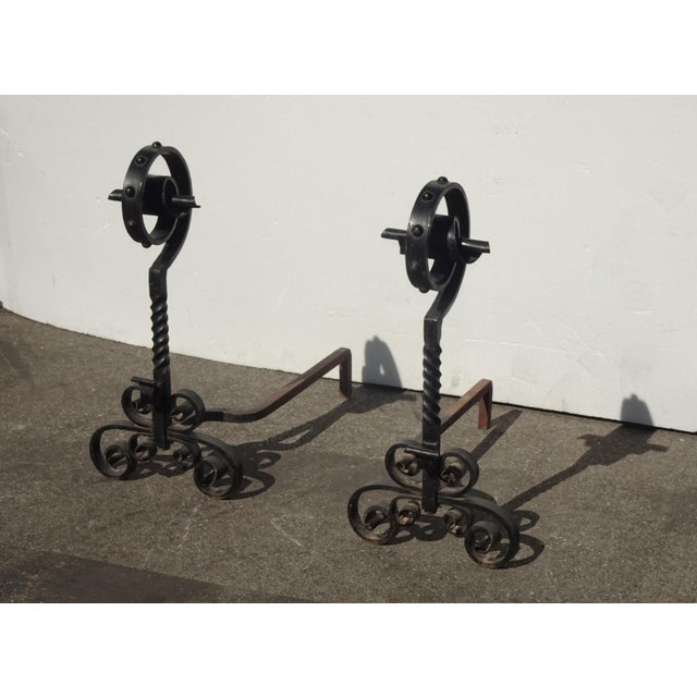 Spanish Vintage Black Wrought Iron Spanish Style Andirons W Decorative Cross Bar For Sale - Image 3 of 12