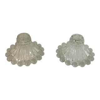 Vintage Clear Pressed Glass Candlesticks by Anchor Hocking - a Pair For Sale